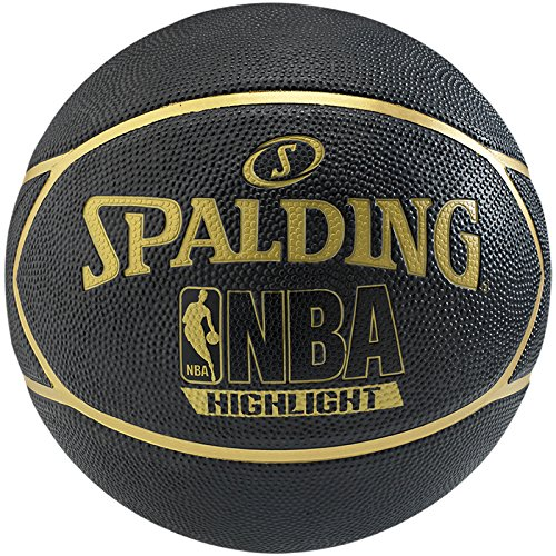 Spalding Ball NBA Highlight Outdoor, Schwarz/Gold, 7